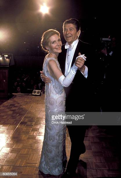 Newlyelected President Ronald Reagan ballroom dancing with wife Nancy during his inaugural ball