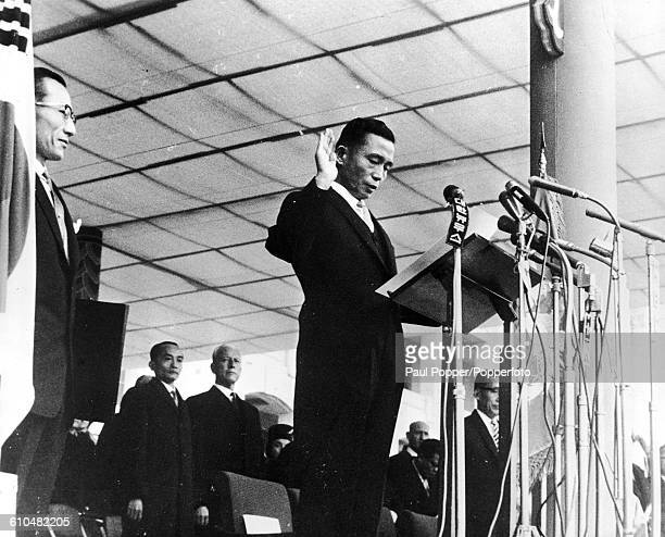 Newlyelected South Korean President Park Chunghee takes the oath of office in Seoul South Korea 17th December 1963 He had been Chairman of the...