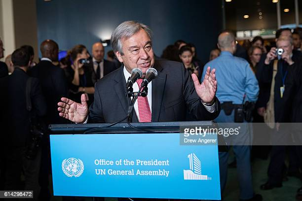 Newlyelected United Nations Secretary General Antonio Guterres delivers brief remarks to the media at the United Nations headquarters on October 13...