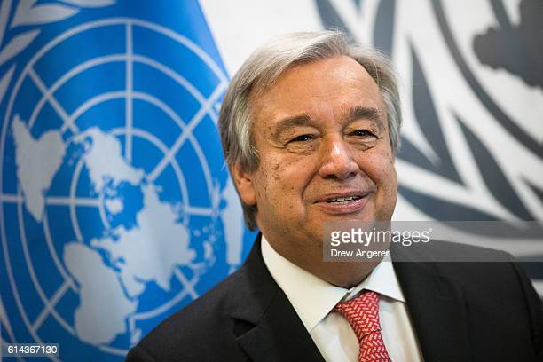 Newlyelected United Nations Secretary Generaldesignate Antonio Guterres looks on a photo opportunity at the United Nations headquarters October 13...
