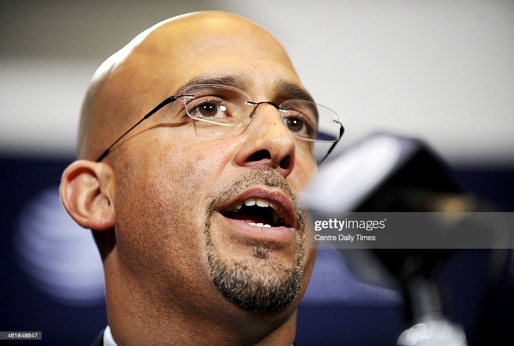 Newly-hired Penn State football coach James Franklin answers questions from the media during a news conference at Beaver Stadium in University Park, Pa., on Saturday, Jan. 11, 2014.