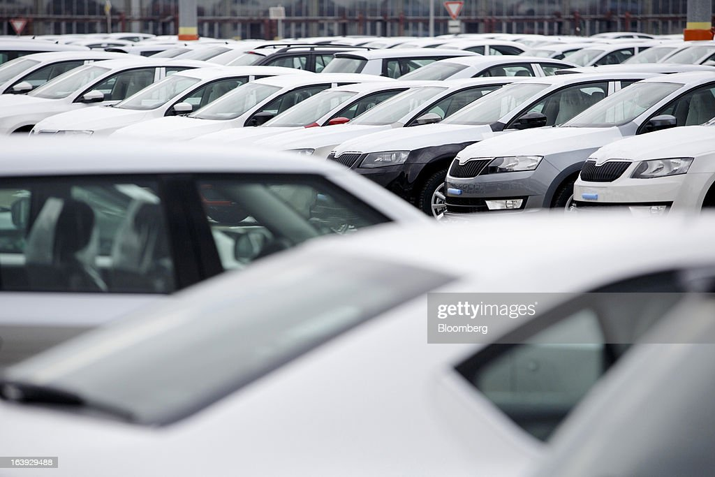 Newly-manufactured Skoda automobiles stand in a parking lot before distribution at the Skoda Autos AS plant in Mlada Boleslav, Czech Republic, on Friday, March 15, 2013. VW, which also owns the Porsche luxury-auto brand as well as the Skoda and Seat volume marques, will build at least 10 plants globally, including seven in China, Martin Winterkornm chief executive officer of Volkswagen AG, said. Photographer: Martin Divisek/Bloomberg via Getty Images