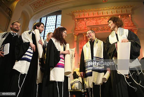 Newlyordained rabbis and cantors of the Abraham Geiger College attend their graduation ceremony at the White Stork Synagogue on September 2 2014 in...