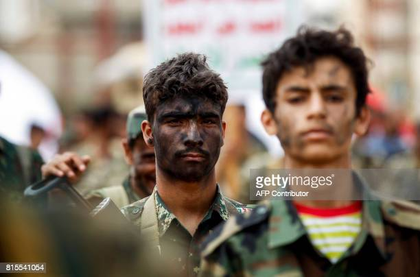 Newlyrecruited Huthi fighters take part in a gathering in the capital Sanaa to mobilize more fighters to battlefronts in the war against...