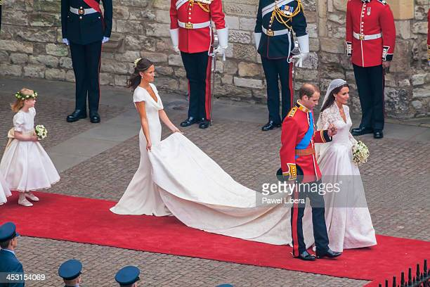 Newlywed couple HRH Prince William of Wales and his wife Catherine leaving Westminster Abbey after the end of the Royal Wedding Ceremony