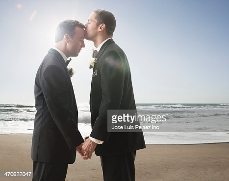 Newlywed grooms kissing
