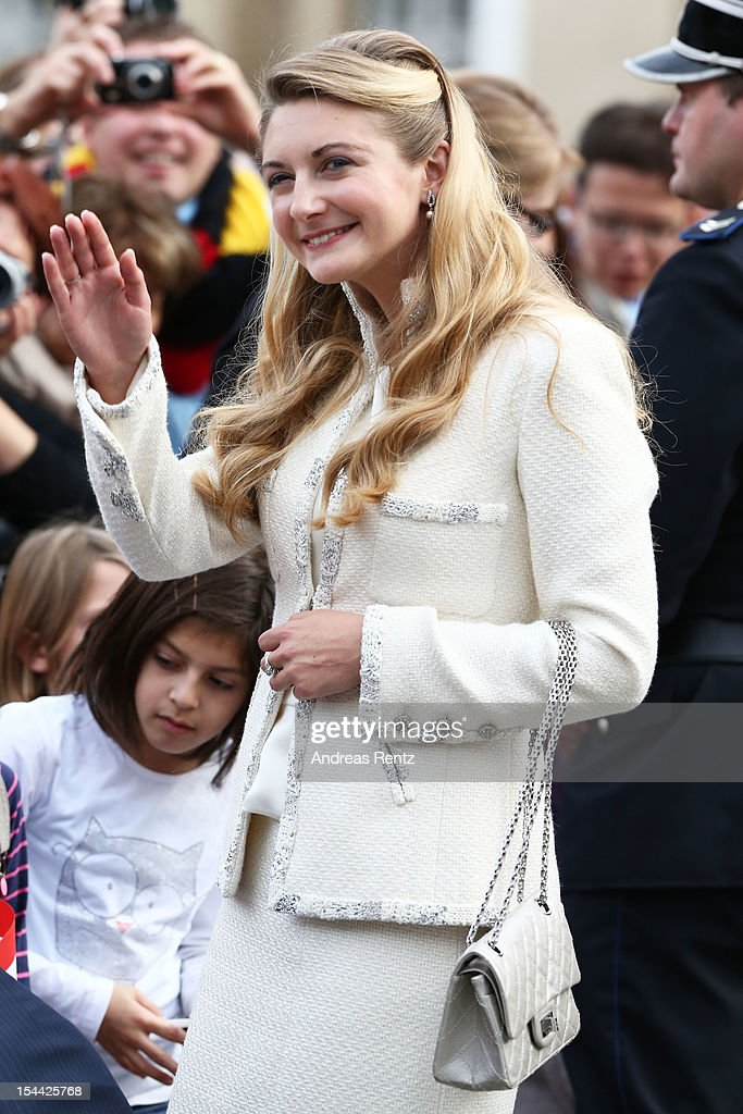 Newlywed Princess Stephanie of Luxembourg walks amongst the crowds following the civil ceremony for the wedding of Prince Guillaume of Luxembourg and Stephanie de Lannoy at the Hotel De Ville on October 19, 2012 in Luxembourg, Luxembourg. The 30-year old hereditary Grand Duke of Luxembourg is the last hereditary Prince in Europe to get married, marrying his 28-year old Belgian Countess bride in a lavish 2-day ceremony.