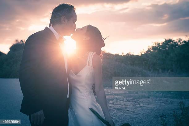 Sposi al tramonto a Siracusa, in Sicilia