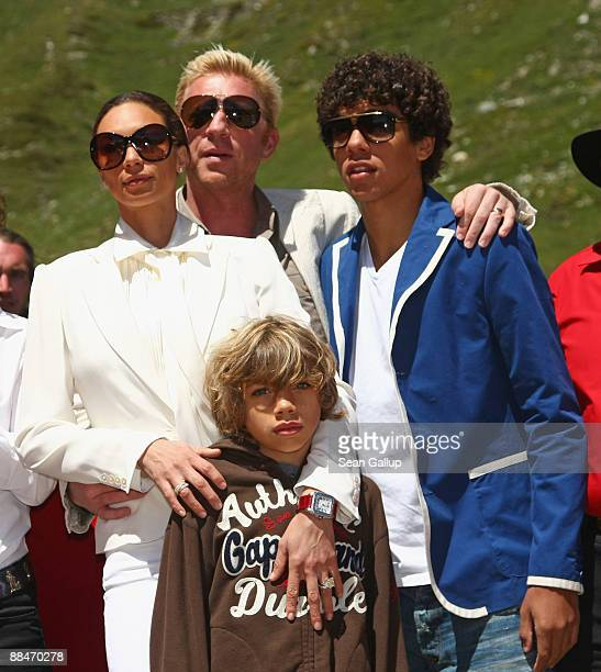 Newlyweds Boris Becker and Sharlely Becker arrive with Boris's sons from his first marriage Elias and Noah after taking a ski lift to their wedding...
