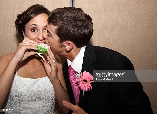 Newlyweds First Bite of Cake