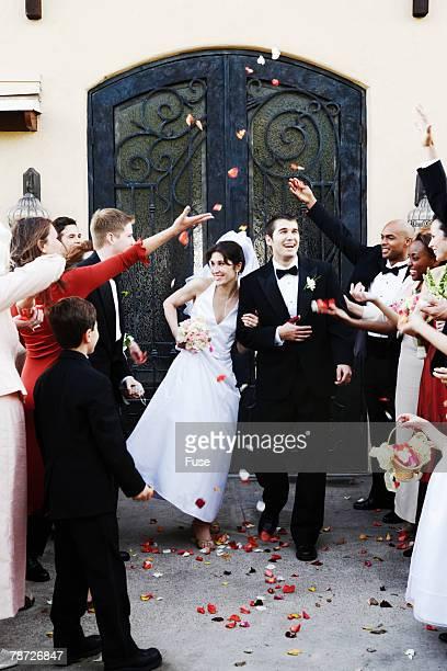 Newlyweds Leaving Chapel