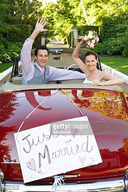 Newlyweds Leaving Wedding