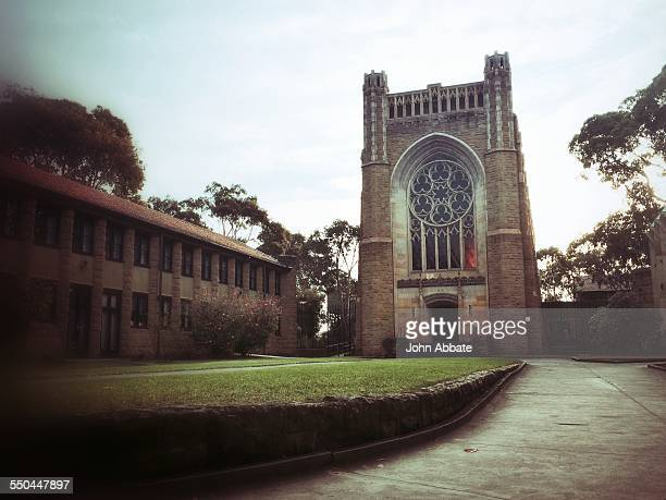 Newman College chapel and campus lawn part of the University of Melbourne
