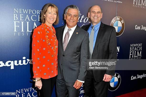 Newport Beach Film Festival CEO Gregg Schwenk Newport Beach councilman Tony Petros and his wife Kristin Petros arrive at the 16th Annual Newport...