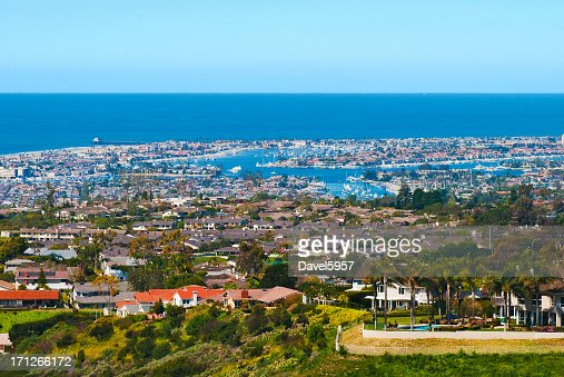 Newport Beach houses and Harbor aerial