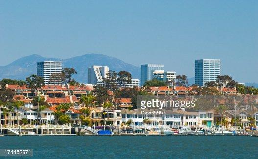 Newport Beach skyline and houses