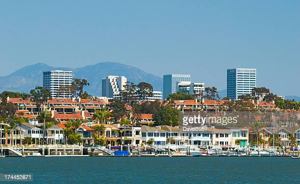 Newport Beach skyline and houses