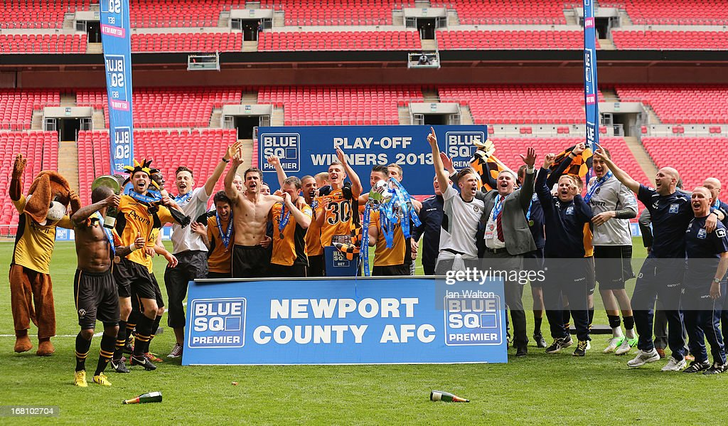 Newport County A.F.C team celebrates after winning the Blue Square Bet Premier Conference Play-off Final between Wrexham and Newport County A.F.C at Wembley Stadium on May 5, 2013 in London, England.