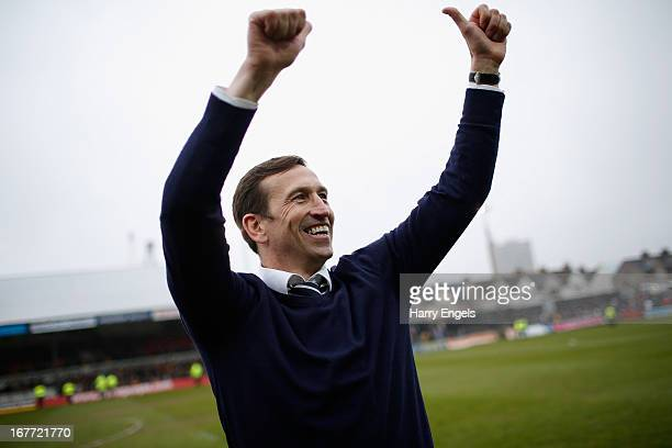 Newport County manager Justin Edinburgh celebrates after his side won the Blue Square Bet Premier Conference Playoff second leg match between Newport...
