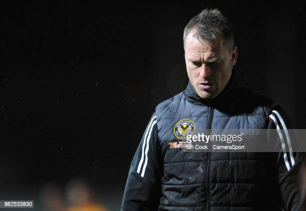 Newport County manager Michael Flynn looks dejected at the final whistle during the Sky Bet League Two match between Newport County and Colchester...