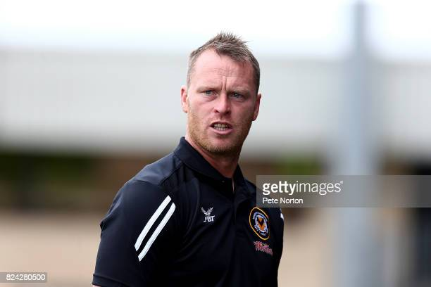 Newport County manager Michael Flynn looks on during the PreSeason Friendly match between Northampton Town and Newport County at Sixfields on July 29...