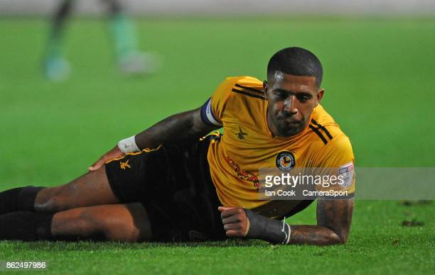Newport County's Joss Labadie goes down injured and is taken off early in the game during the Sky Bet League Two match between Newport County and...