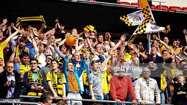 Newport fans celebrates after winning the Blue Square Bet Premier Conference Playoff Final match between Wrexham and Newport County AFC at Wembley...