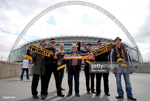 Newport fans make their way to the stadium prior to the Blue Square Bet Premier Conference Playoff Final match between Wrexham and Newport County AFC...