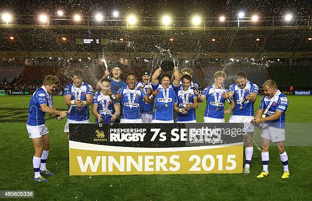 Newport Gwent Dragons celebrate beating Wasps in the final during the Singha Premiership Rugby 7's Series finals at Twickenham Stoop on August 28...