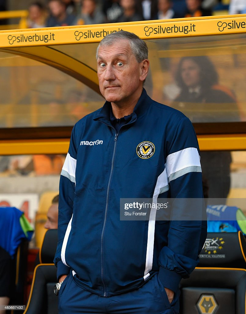 Newport manager Terry Butcher 'gives the eyes' before the Capital One Cup First Round match between Wolverhampton Wanderers and Newport County at Molineux on August 11, 2015 in Wolverhampton, England.