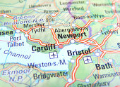 Map of Newport, Bristol and Cardiff, England.