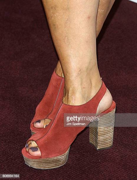 News anchor Alex Witt shoe detail attends the 'The Dressmaker' New York screening at Florence Gould Hall Theater on September 16 2016 in New York City