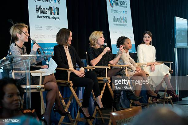 News anchor Amy Robach actress Rose Byrne Editor In Chief of More Magazine Lesley Jane Seymourand actress Quvenzhane Wallis and Miss Universe 2013...