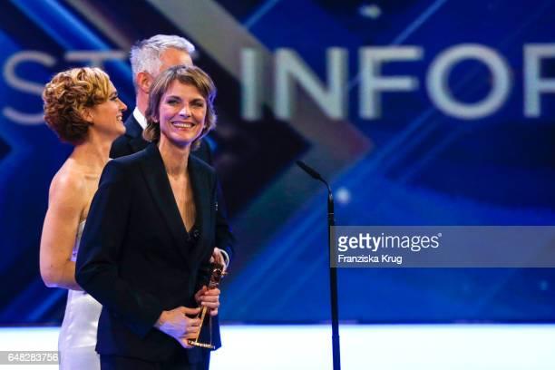 News anchor award winners Caren Miosga and Marietta Slomka during the Goldene Kamera show on March 4 2017 in Hamburg Germany