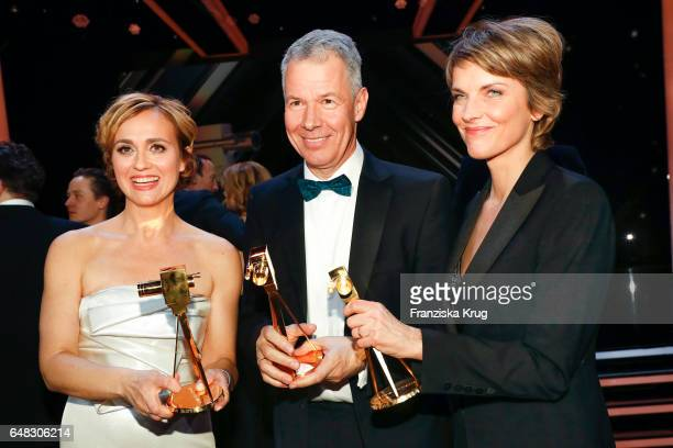 News anchor award winners Caren Miosga Peter Kloeppel and Marietta Slomka during the Goldene Kamera show on March 4 2017 in Hamburg Germany