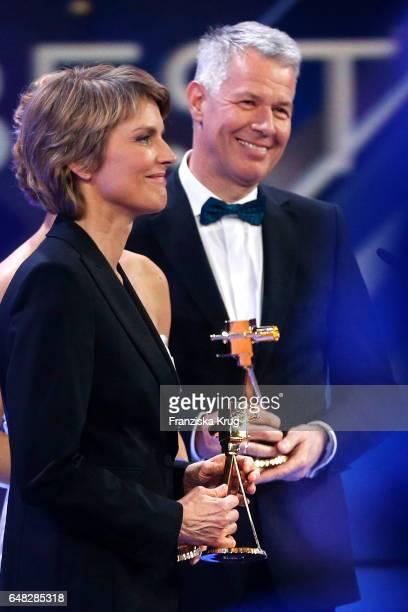 News anchor award winners Peter Kloeppel and Marietta Slomka during the Goldene Kamera show on March 4 2017 in Hamburg Germany
