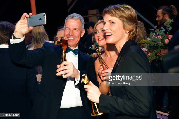 News anchor award winners Peter Kloeppel Caren Miosga and Marietta Slomka during the Goldene Kamera show on March 4 2017 in Hamburg Germany