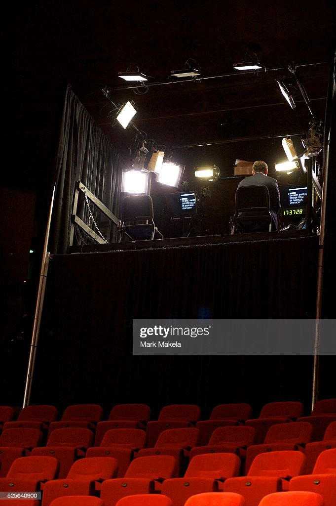 FOX News anchor Brett Baier broadcasts live from a temporary auditorium balcony television studio several hours before the Vice Presidential debate...