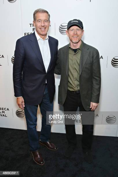 News anchor Brian Williams and director Ron Howard attend Tribeca Talks Director's Series Ron Howard 2014 Tribeca Film Festival at BMCC Tribeca PAC...