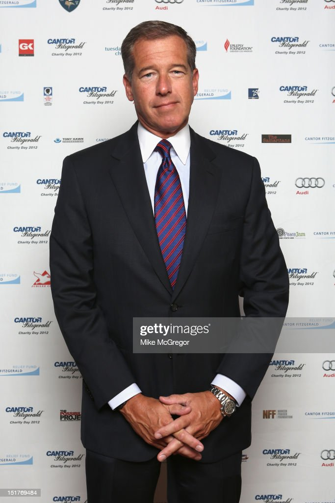 News anchor <a gi-track='captionPersonalityLinkClicked' href=/galleries/search?phrase=Brian+Williams+-+News+Anchor&family=editorial&specificpeople=206917 ng-click='$event.stopPropagation()'>Brian Williams</a> attends Cantor Fitzgerald & BGC Partners host annual charity day on 9/11 to benefit over 100 charities worldwide at Cantor Fitzgerald on September 11, 2012 in New York City.