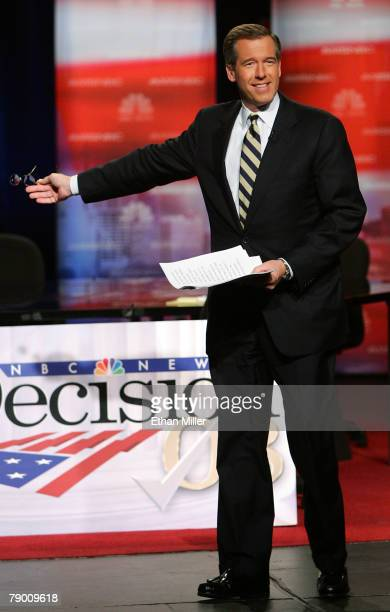 NBC news anchor Brian Williams speaks before moderating a Democratic presidential debate at Cashman Center January 15 2008 in Las Vegas Nevada After...