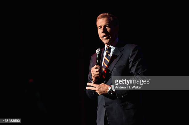 News Anchor Brian Williams speaks onstage at 2014 Stand Up For Heroes at Madison Square Garden at Madison Square Garden on November 5 2014 in New...