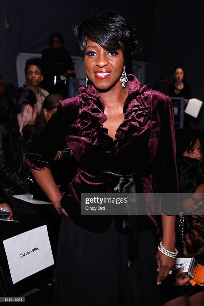 News Anchor Cheryl Wills attends the B Michael America Fall 2013 fashion show during Mercedes-Benz Fashion Week at The Studio at Lincoln Center on February 13, 2013 in New York City.