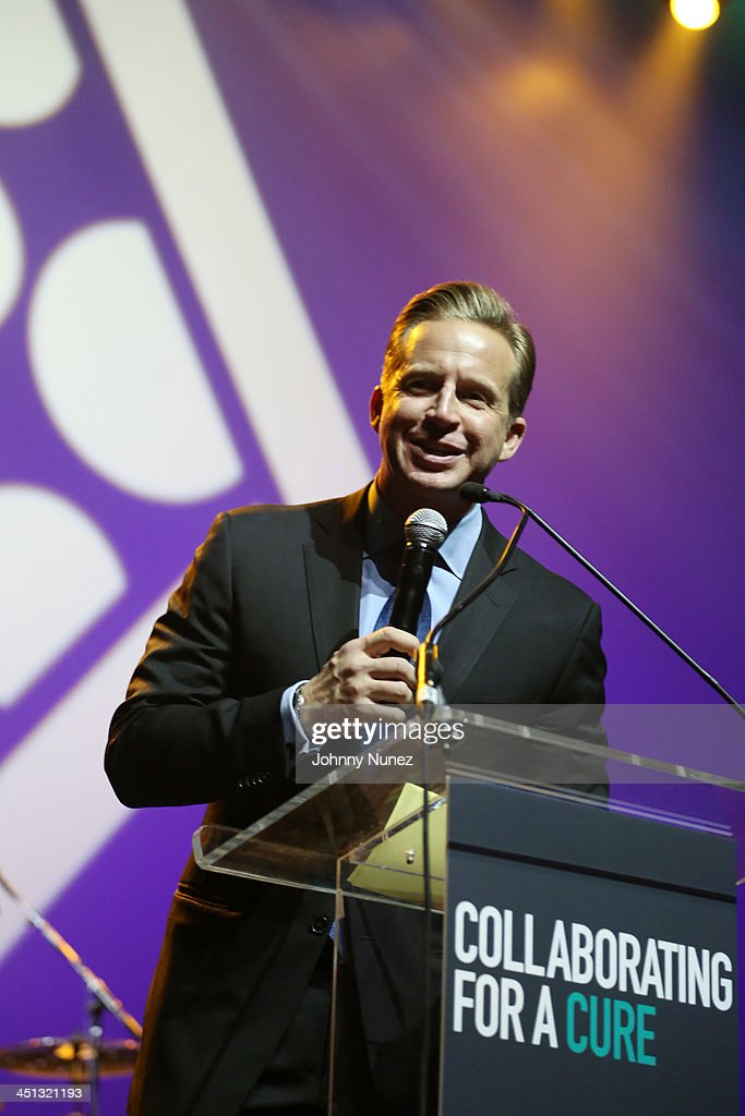 News anchor <a gi-track='captionPersonalityLinkClicked' href=/galleries/search?phrase=Chris+Wragge&family=editorial&specificpeople=4345147 ng-click='$event.stopPropagation()'>Chris Wragge</a> speaks on stage during the 16th Annual Samuel Waxman Cancer Research Foundation Collaborating For A Cure Benefit Dinner & Auction at Park Avenue Armory on November 21, 2013 in New York City.