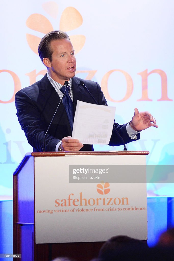 TV news anchor <a gi-track='captionPersonalityLinkClicked' href=/galleries/search?phrase=Chris+Wragge&family=editorial&specificpeople=4345147 ng-click='$event.stopPropagation()'>Chris Wragge</a> speaks onstage at Safe Horizon's 35th anniversary celebration at its annual gala at Pier Sixty at Chelsea Piers on May 9, 2013 in New York City.