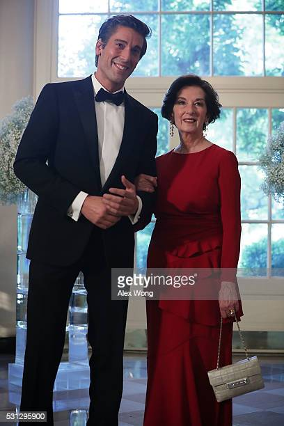 News anchor David Muir and Patricia Mills arrive at a Nordic State Dinner May 13 2016 at the White House in Washington DC President Barack Obama and...