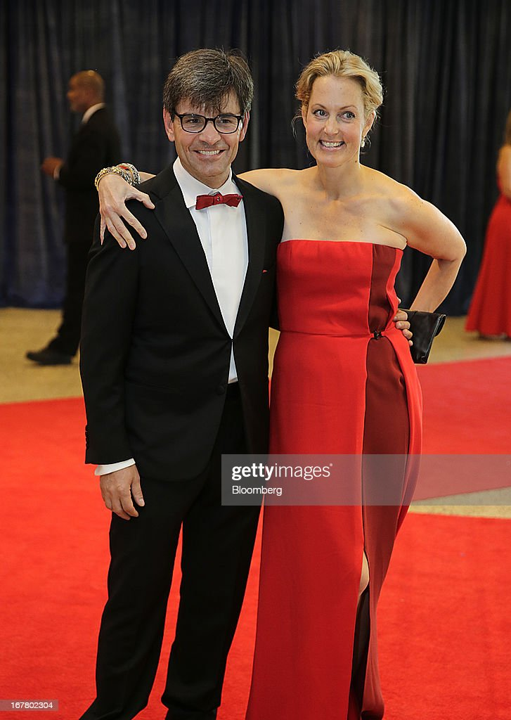 ABC News anchor George Stephanopoulos and actress Alexandra Wentworth arrive for the White House Correspondents' Association (WHCA) dinner in Washington, D.C., U.S., on Saturday, April 27, 2013. The 99th annual dinner raises money for WHCA scholarships and honors the recipients of the organization's journalism awards. Photographer: Scott Eells/Bloomberg via Getty Images