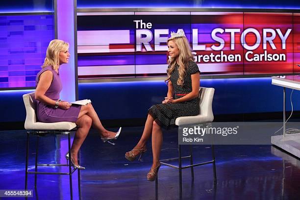 News Anchor Gretchen Carlson Interviews Miss America 2015 Kira Kazantsev at FOX Studios on September 16 2014 in New York City