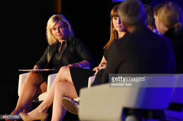 News anchor Gretchen Carlson moderates a panel discussion during the American Magazine Media Conference 2017 on February 8 2017 in New York City