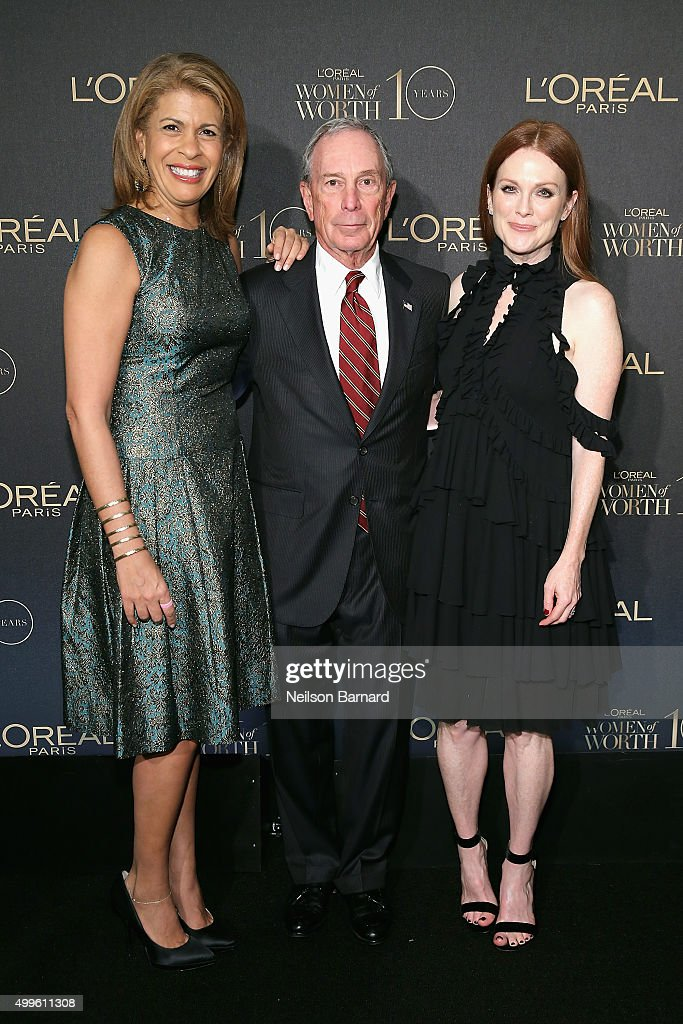 News anchor Hoda Kotb, Former New York City Mayor Michael Bloomberg, and actress Julianne Moore attend the L'Oreal Paris Women of Worth 2015 Celebration - Arrivals at The Pierre Hotel on December 1, 2015 in New York City.